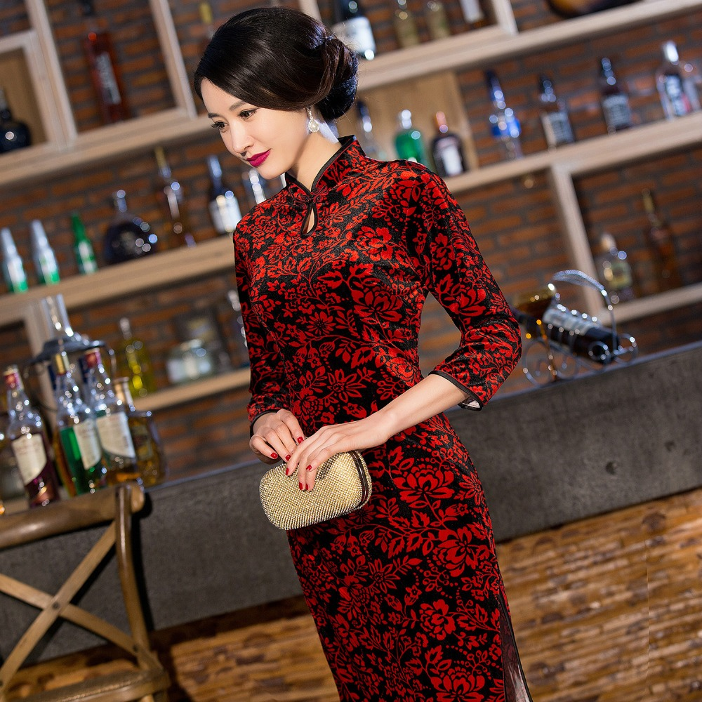 New Arrival Chinese Traditional Womens Velour Hand-Made Button Long Cheong-sam Dress S M L XL XXL  QXF16Одежда и ак�е��уары<br><br><br>Aliexpress