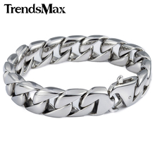 Buy Trendsmax 14mm 316L Stainless Steel Bracelet Silver Color Round Curb Cuban Link Mens Chain Boys Wholesale Jewelry HB164 for $11.99 in AliExpress store
