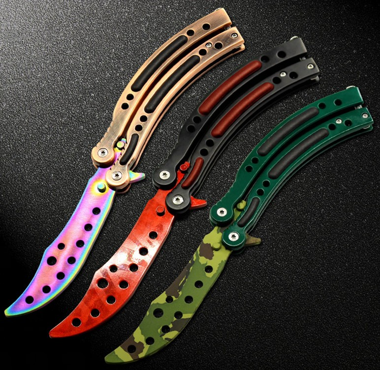 new in 2016 cs go counter strike claw karambit knife game folding knife butterfly rainbow game. Black Bedroom Furniture Sets. Home Design Ideas