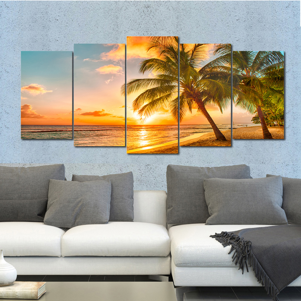 Wieco Art Large Size Sunest Seascape Beach Modern Home Decoration 5PCS Wall Art with Framed