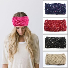 1pc BOHO style Women knitted Headwrap Twist braid Woolen Headband Hair accessories for girls Warm Headgear Lady Crochet Turban