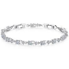 Bamoer 6 Warna Mewah Warna Rose Gold Chain Link Gelang untuk Wanita Wanita Bersinar AAA Cubic Zircon Kristal Perhiasan JIB013(China)