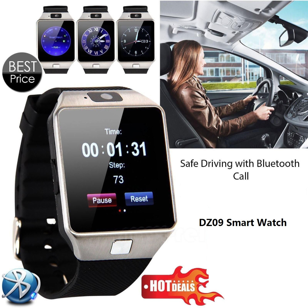 Free Shipping Hot Sales Mobile Phone Watch Black DZ09 Smartwatch Latest Card Bluetooth Support Android Apple System(China (Mainland))