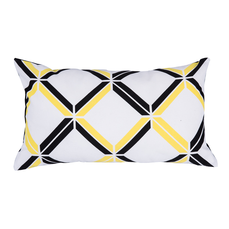 Black White And Yellow Throw Pillows : Printed Striped Decorative Throw Pillows Modern Cushions Black and White Yellow Vintage Cushion ...