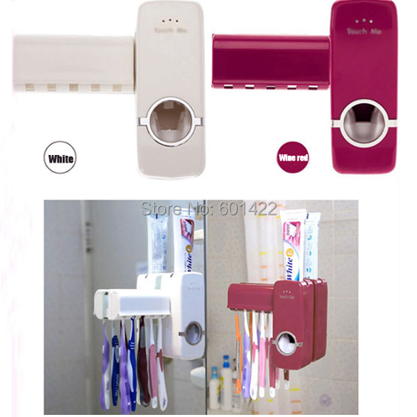 Automatic Toothpaste Dispenser + 5 Toothbrush Holder Set Wall Mount Stand