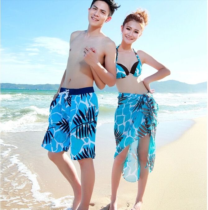 Hot Sale 2015 new fashion beach shorts for women and men Swimwear big size Board shorts male Sports loose Swimsuit lovers(China (Mainland))
