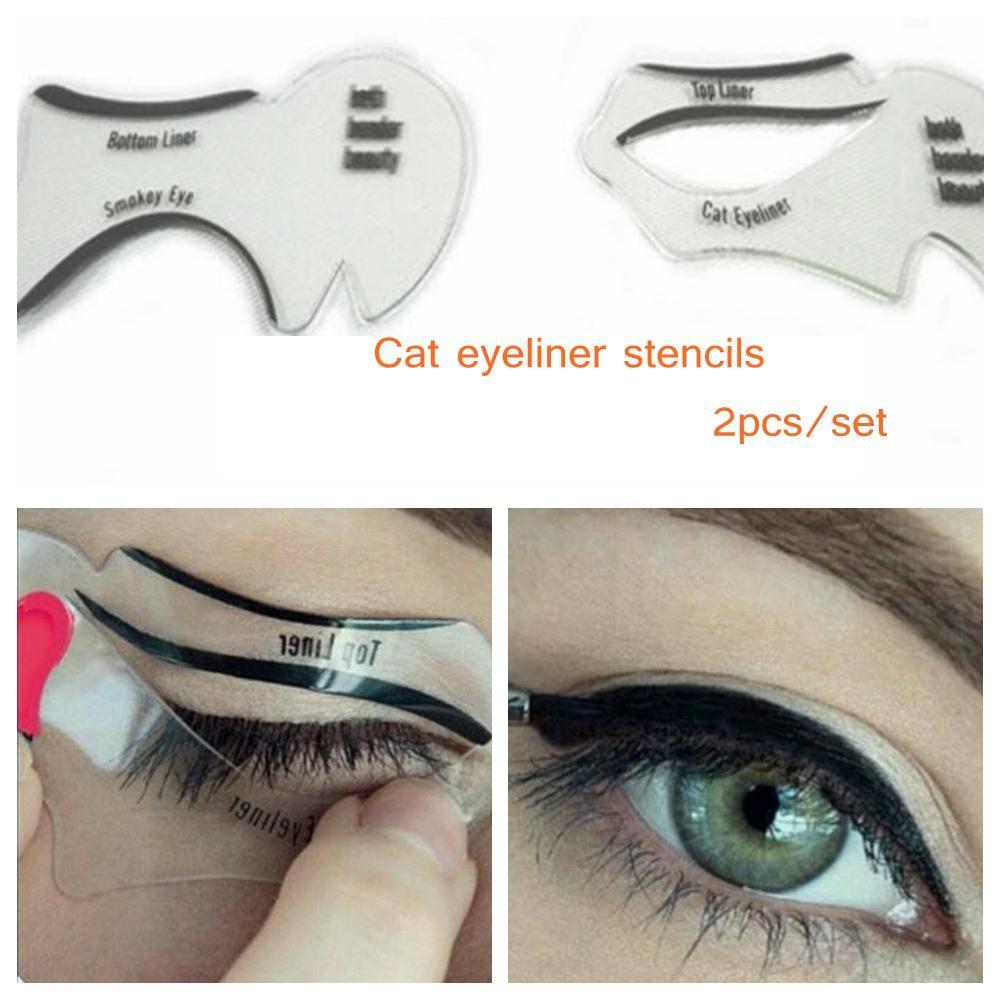2pcs set New Style Cat Eyeliner Stencil Kit Smokey Eyeshadow Model For Eyebrows Template Card Makeup