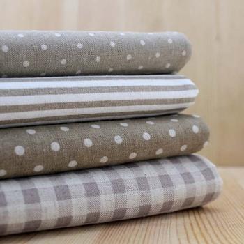Milk Tea Multi Geometric Pattern Hemp gray Quilting Cotton linen fabric bundle DIY home textile Cloth art for patchwork 22*24cm