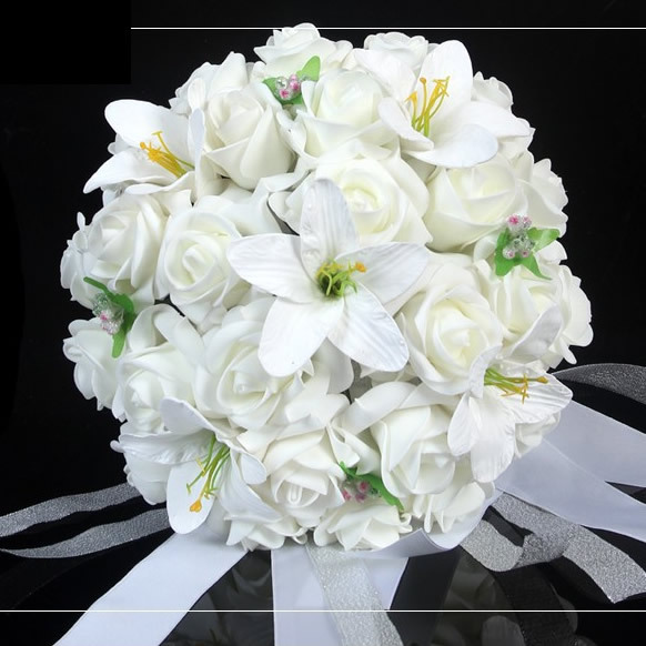 White Wedding Bouquet Artificial Rose Flowers Bridal Throw Bouquet Bridal Bo