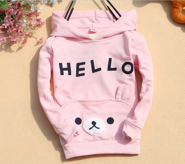 3 Color Girls Cartoon hooded T-shirt Children cotton T- shirt girls coat shirt Hooded t shirt