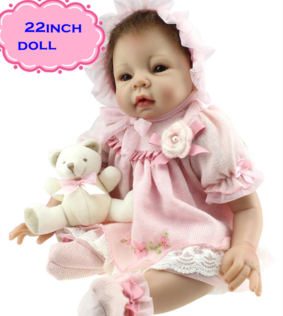 Фотография Free Shipping New Pretty NPK Silicone Reborn Baby Dolls About 22inch/55cm For Kids Charming Play Baby Doll Brinquedos For Sale