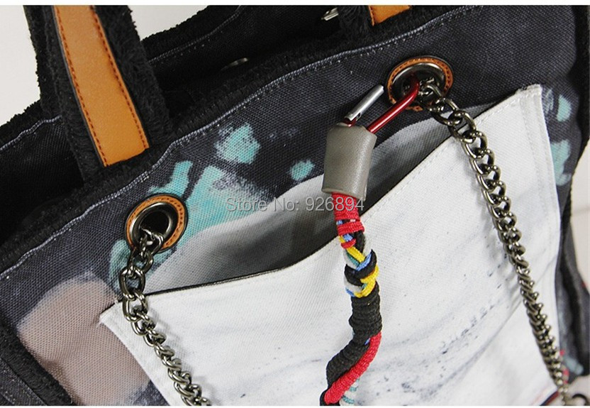 Fashion 2015  Catwalks Famous Brand LOGO Graffiti Canvas Shoulder Bag