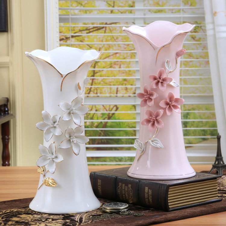 Ceramic White Pink Flowers Vase Home Decor Large Floor Vases For Weeding Decoration Ceramic