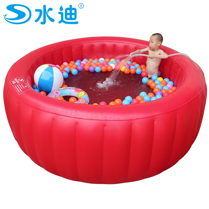 Extra Large Red Round With Inflating Pump Children Tub Portable Inflatable Family Adult Swimming