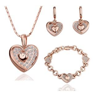 18k platinum jewelry fashion sparkling crystal elegant double heart earrings necklace bracelet three pieces set - honey  -  EEL store store