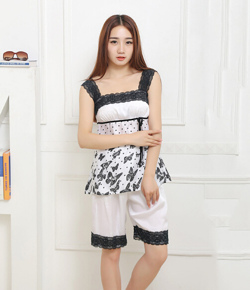 Women Sexy Lace Sleeveless Sleep Pajamas Slim Sleepwear Pajama Pants Shorts Lounge Set M/L/L(China (Mainland))