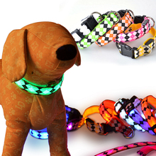 2016New luminescent rhombus Pet collar flash light emitting Pet collarLED luminous dog Pet collar for with small medium dogs pet