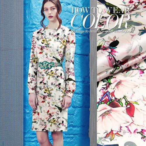 2015 New China digital printing pure silk fabric antiquity heavy stretch satin fabrics cloth sewing dress clothing material - Sanni Silk store