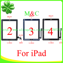 10pcs/lot 100% tested Touch Screen Digitizer For ipad 2 3 4+home button flex +sticker +camera holder complete Free Shipping(China (Mainland))