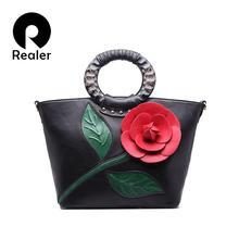 2016 Fashion Flower Design Women Handbag With Round Handle National PU Leather Lady Tote Vintage Luxury Women Hobos Shoulder Bag(China (Mainland))