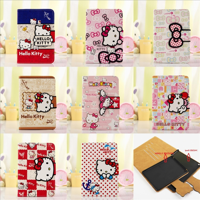 For Apple iPad Mini 1 2 Cute Cartoon New Hello Kitty Flip Quality Pu Leather Stand Folio Case Cover With Card Money Wallet Hot(China (Mainland))