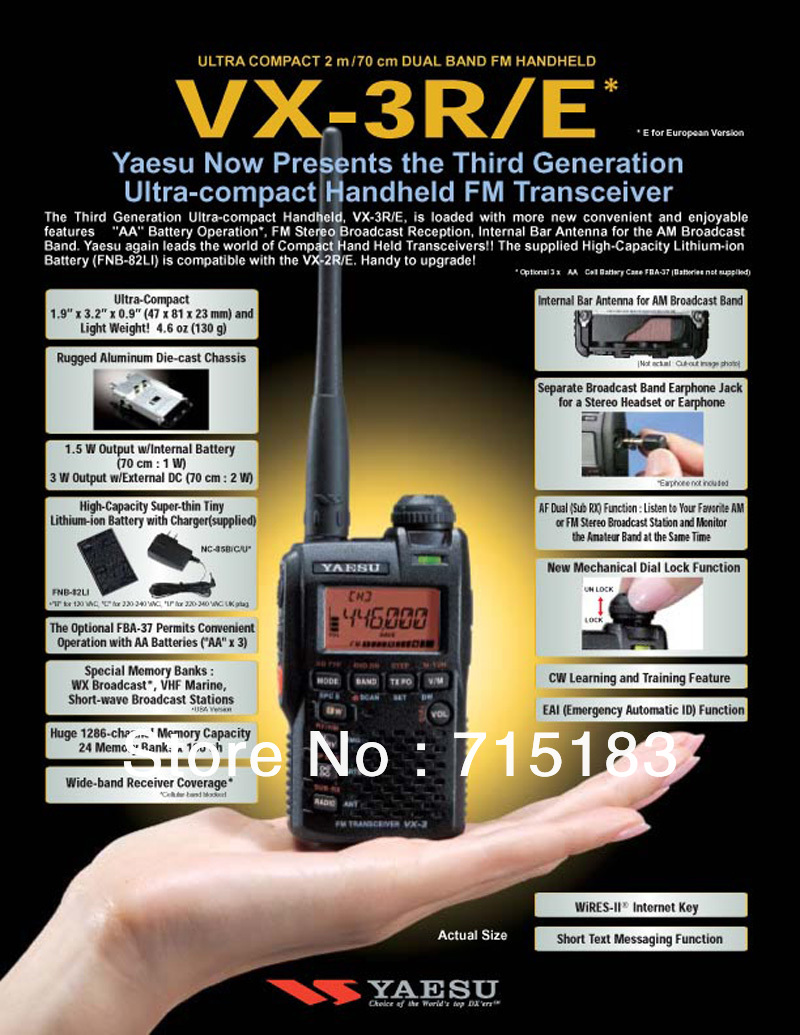 Yaesu VX-3R radio Ultra-compact Dual Band Handheld FM Transceiver/two way radio(China (Mainland))