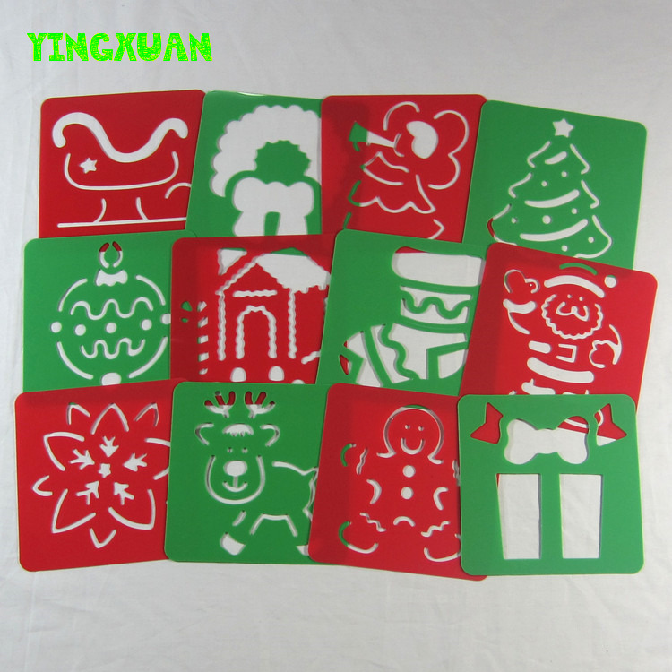 12 designs/set 12.8*12.8*0.06cm Kids Plastic Picture Drawing Stencil Painting Children's drawing template Christmas Day - YINGXUAN TOYS RETAILS & store