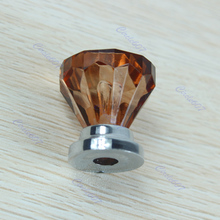 Free Shipping Amber Acrylic Door Pull Knob Drawer Cupboard Cabinet Handle 26mm Hardware