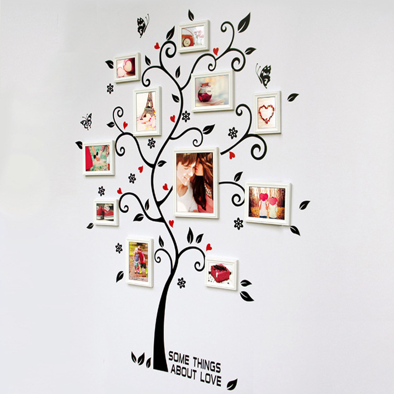 Room Photo Frame Decoration Family Tree Wall Decal Sticker Poster on a Wall Stickers Tree Wallpaper Kids Photoframe Art(China (Mainland))