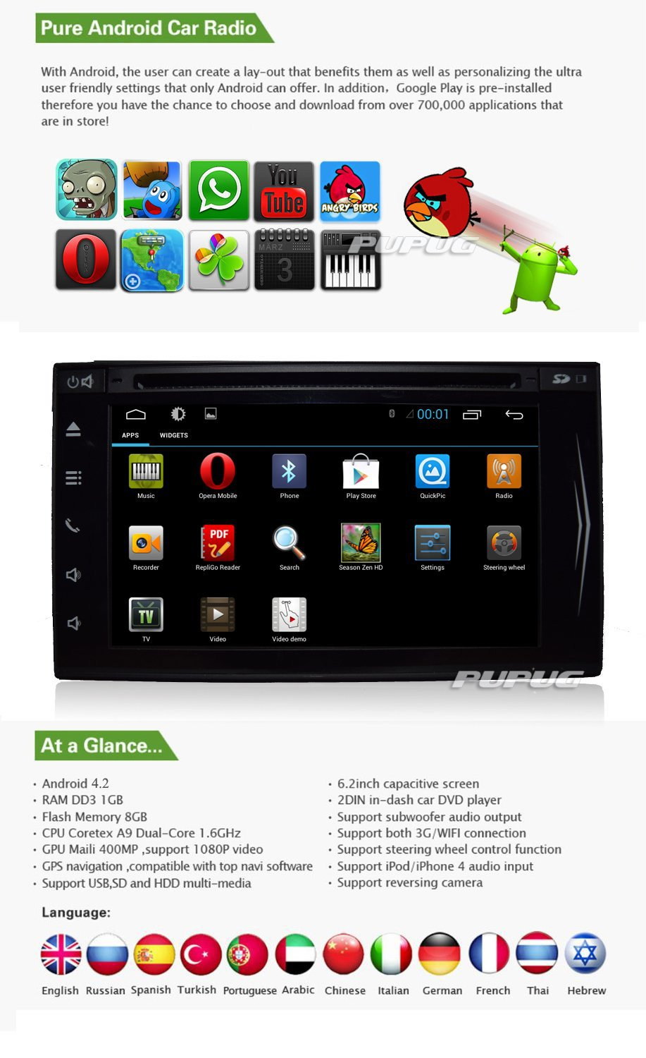 7 inch Pure Android 4 2 Tablet Double Din In Dash Car NO DVD Player GPS