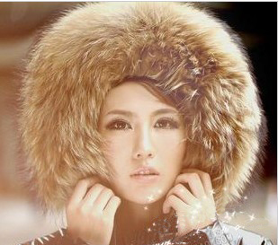 Foxtail Womens 100% Natural Fur Collar 80cm Long 13cm Width Thick Real Fur Shawl Raccoon collar Fur(China (Mainland))