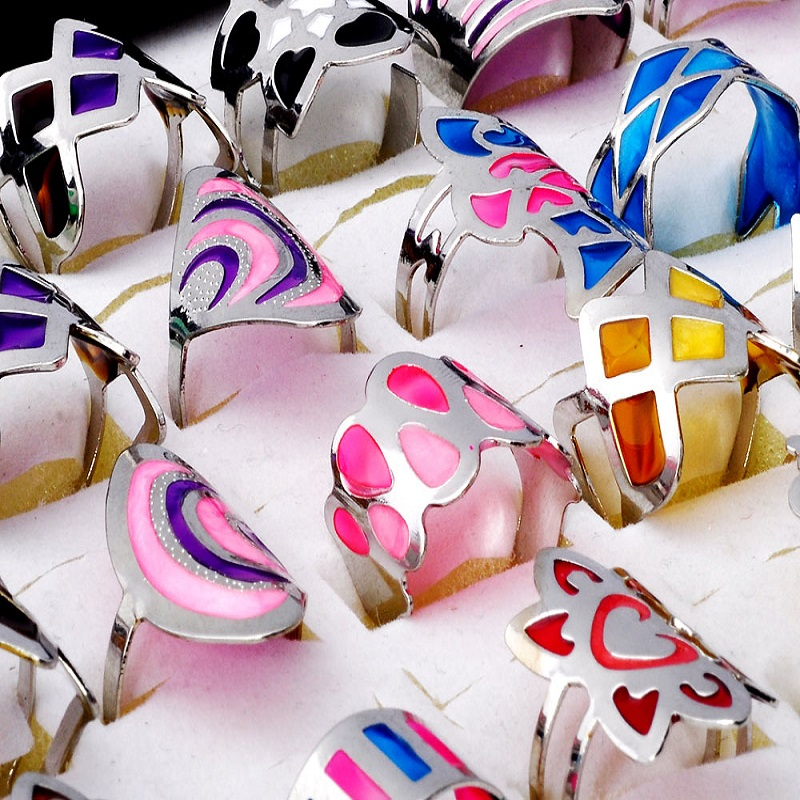 5Pcs/Lot Fashion Rings For Women 2015 Party Jewelry Colorful Print Silver Ring Elegant Big Open Rings Design Wholesale anelli(China (Mainland))