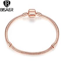 BISAER 2016 New Gold Good Quality Snake Chain Bracelets fit Original Pandora Bracelet Jewelry 18cm,20cm,21cm(China (Mainland))