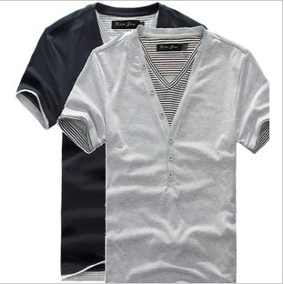 V-neck off two pieces of foreign trade men shirt black usa the original single men's short sleeve T-shirt splicing T025