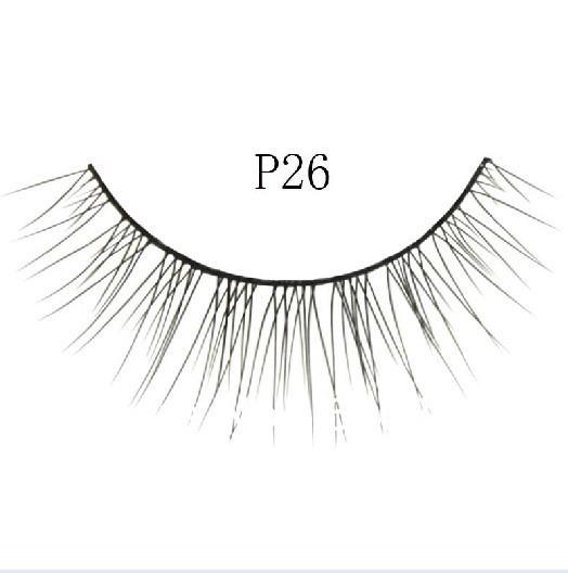 100pairs=10boxes P26# black Fake Eyelashes False Eye lashes Synthetic Fibre eyelash Eyelash Extension NO glue freeshipping