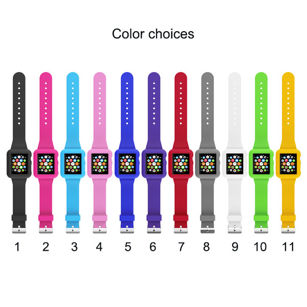 Colorful Silicon Watch Strap Apple Case band strap 38mm / 42mm Soft Silicone Skin Band Cover