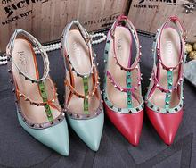 Size 35 40 New 2015 Brand Pointed Toe Rivets Shoes Woman High Heels Shoes blue red