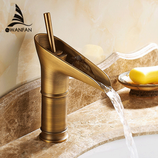 Free Shipping Contemporary Modern Open Spout Water Tap Bathroom Vessel Sink Faucet In Antique Brass Wholesale Faucet 6088F(China (Mainland))