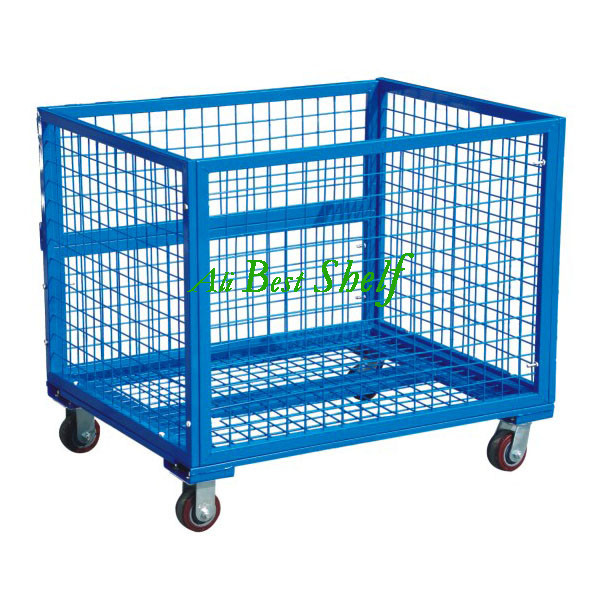 wholesale cheap factory price Warehouse steel wire mesh storage cage with wheels for sale(China (Mainland))