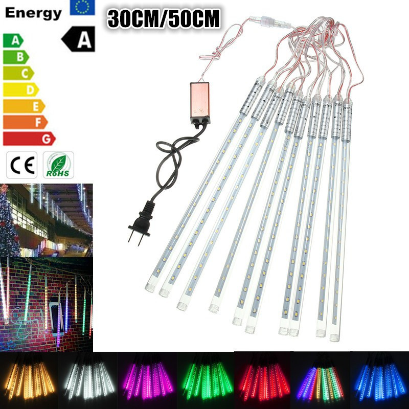 Waterproof IP65 10 Tube 30cm/50cm LED String Meteor Shower Rain Fall Outdoor Christmas Tree Light 3528 AC 85-265V 3W(China (Mainland))