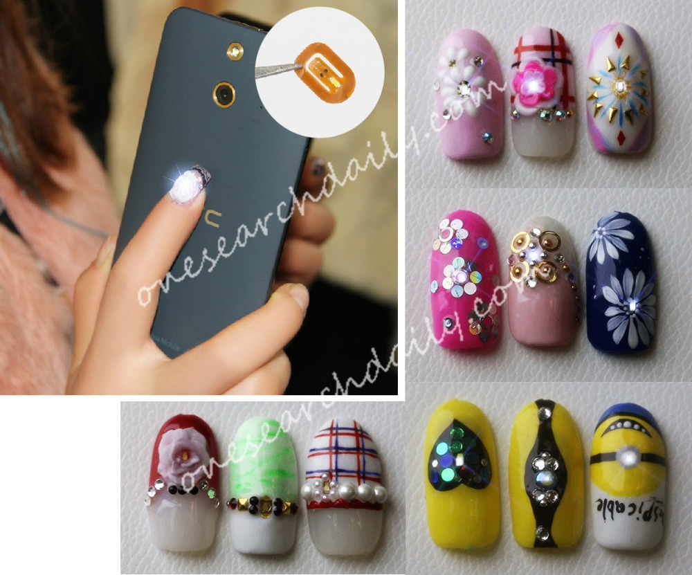 2 pc 3D Affixed NFC Chip Nail Art Sticker Tips LED Flash Decal Mobile phone induction Cell Phone DIY Nail Art Decorations(China (Mainland))