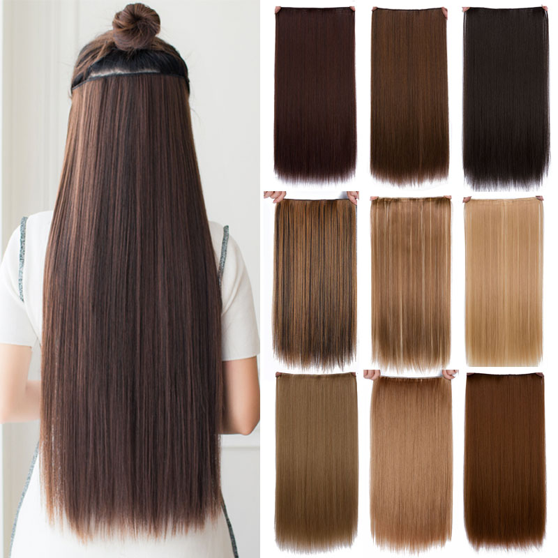 """Cheap hair extension 24"""" Long straight heat Resistant Synthetic alibaba-express 5 clip in hair extensions mega hair"""