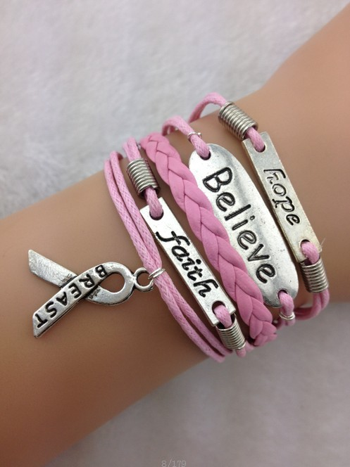 Believe breast cancer bracelet