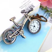 Vintage Bronze Color Bike keychain Clock Quartz Pocket Pendant Watch Necklace Fashion Sweater key Chain relogio New Arrivals(China (Mainland))