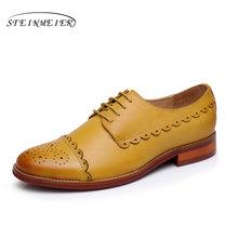 Echte schapenvacht lederen brogue yinzo dames flats kwastje schoenen handgemaakte vintage oxford schoenen voor vrouwen 2018 winter rood geel(China)