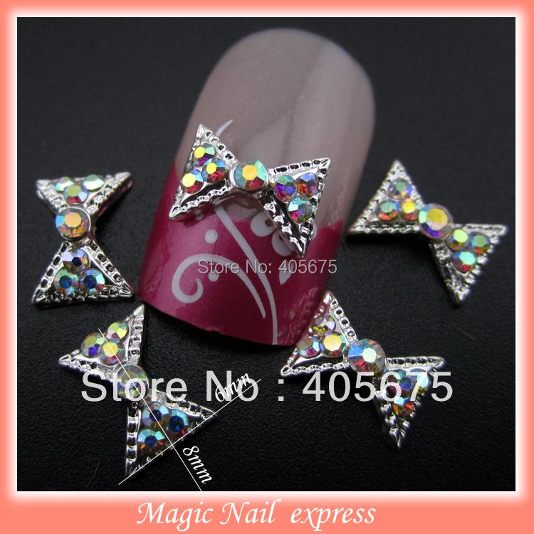 New glitter 6*8mm AB rhinestones 3D bows nail art decoration silver bow alloy nail jewelry charms 10pcs/lot(China (Mainland))