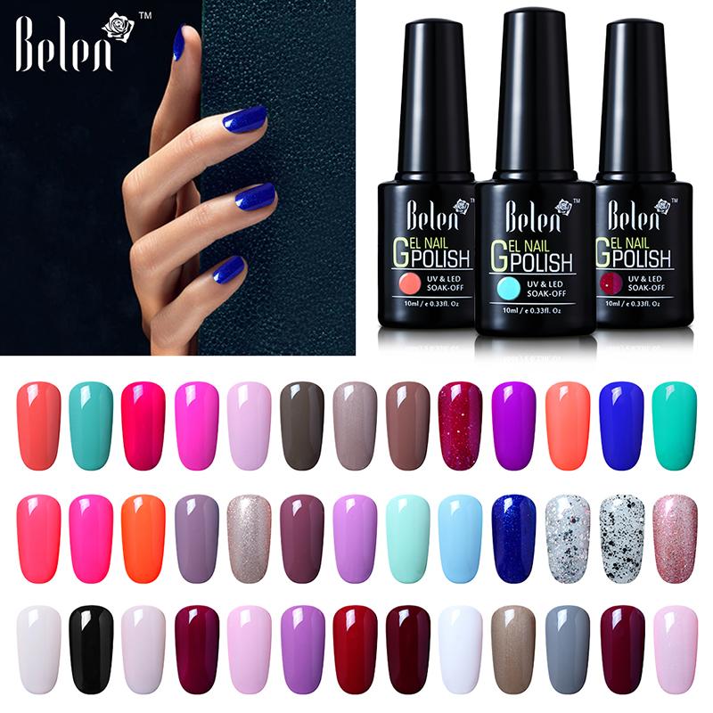 Belen 10ml Nail Color UV Gel Polish Gradient Nail Gel For LED Nail Polish Based Nail Lacquer Primer Gel Top Coat Art