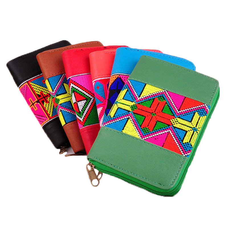National Wallet Clutch Bag Large Capacity Purse Embroidery Geometric Pattern Wallets Women Purse Phone Bag(China (Mainland))