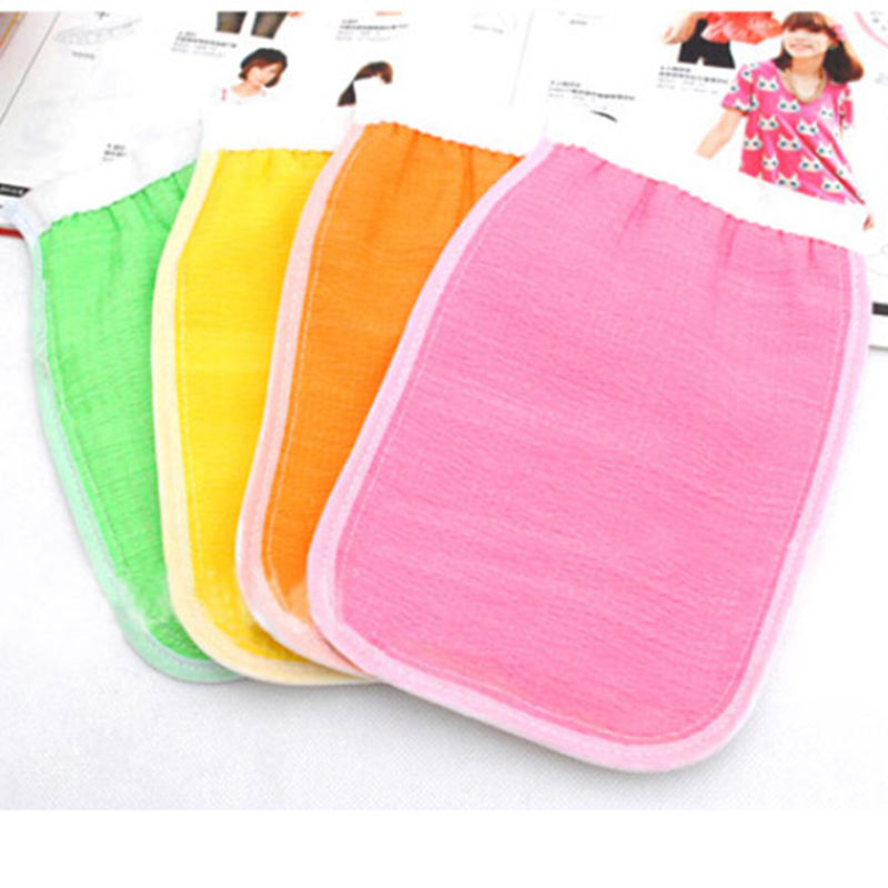 Color Sided Shower Exfoliating Bath Gloves Massage Loofah Scrubber Shower Wash Skin Body Massage Gloves Shower Accessories