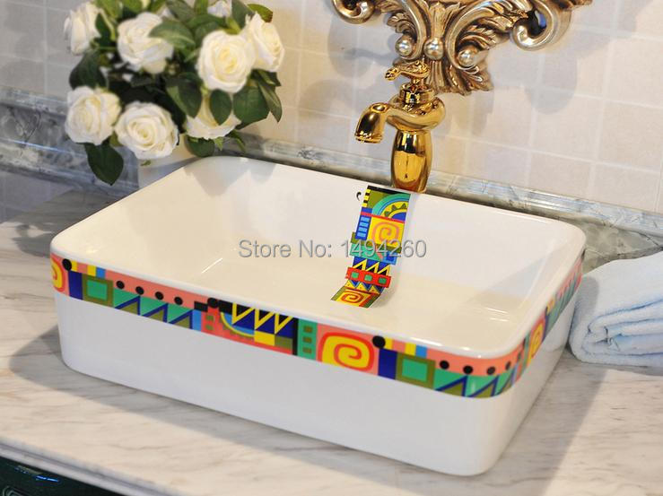 Europe Vintage Style Hand Painting Art Porcelain Deep Blue Countertop Basin Sink Handmade Ceramic Bathroom Vessel Sinks Vanities - Teluoyi mosaic shop store